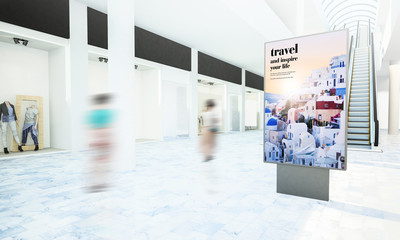travel advertising on shopping mall mockup