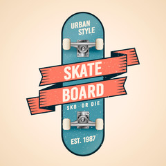 Vector Illustration cool classic skateboarding logo in old school style. Skateboard with ribbon, banner, flag and grunge effects