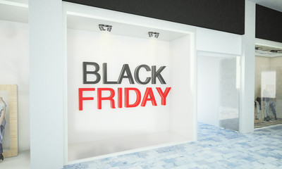 3d black friday text on storefront