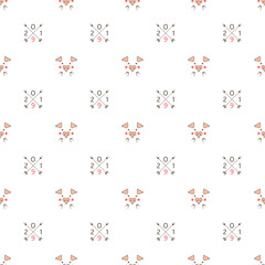 pattern with abstract images of pig and number two thousand nineteen. new year. Christmas decorations.
