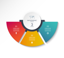 Business infographic semi circle template with 3 options. Can be used as a chart, workflow layout, diagram, data visualization, minimalistic web banner.