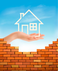 Creative Template Design for Real Estate. Hand holding abstact house. Vector Flyer.