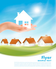 Creative Template Design for Real Estate. Hand holding a paper house. Vector Flyer