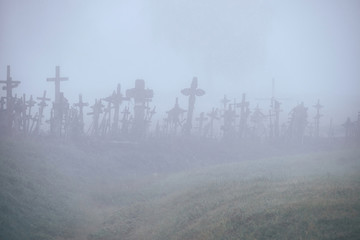 Hill of Crosses in the mist.