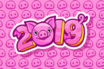 Pig is a symbol of 2019 new year. Head of the Pig in pop art style