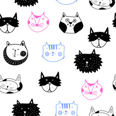Hand drawn graphic colored cats. Vector doodle seamless pattern