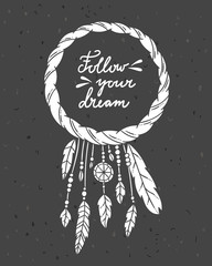 Dreamcatcher vintage decoration on dark background. Vector dreamcatcher with feathers bohemian style illustrations
