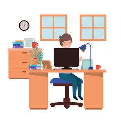 man working in the office avatar character