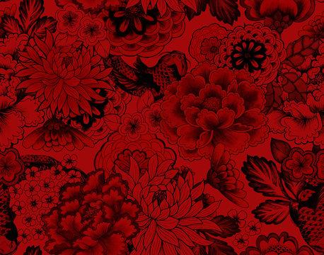 vintage seamless asian traditional patterns. Japanese painted flowers peonies, chrysanthemums, dahlias