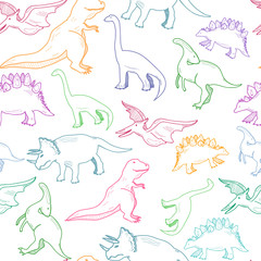 Hand drawn dinosaurs. Colored graphic vector seamless pattern
