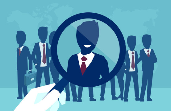 Vector of a corporate recruitment process hand zooming with magnifying glass picking successfull candidate
