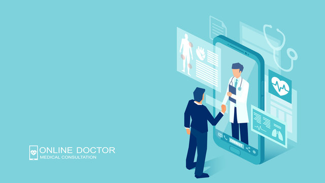 Vector of a patient meeting a doctor online using a smartphone technology