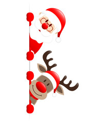 Santa & Rudolph On Top Of Each Other Red Star Banner