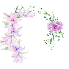 Floral frame with pink flowers and decorative leaves. Watercolor Invitation design. Background to save the date.Greeting cards with pink flowers.