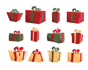 Colorful Gift Box Collections. Set of present boxes flat vector. Happy birthday. Merry Christmas. Gifts with bows and ribbons. Set of wrapped gift boxes isolated on white background. Sale and shopping