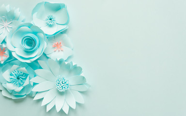 blue paper flowers on the blue background