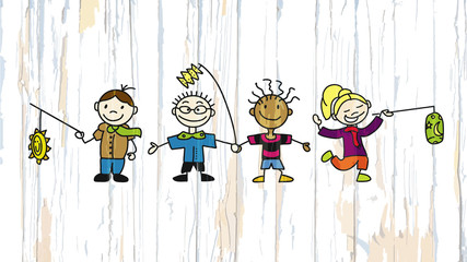 Kids with latern on wooden background