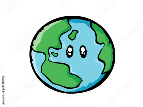 Earth drawing  World map or globe in doodles style  Cartoon