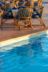 Poolside Set Dining Table with Wicker Chairs