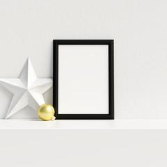 Mock Up Poster Frame Interior Scandinavian Christmas Winter Decoration, 3D Rendering, 3D Illustration
