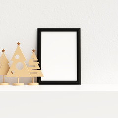 Mock Up Poster Frame Interior Scandinavian Christmas Winter Decoration, 3D Rendering, 3D Illustration