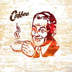Vintage coffee men icon on wooden background