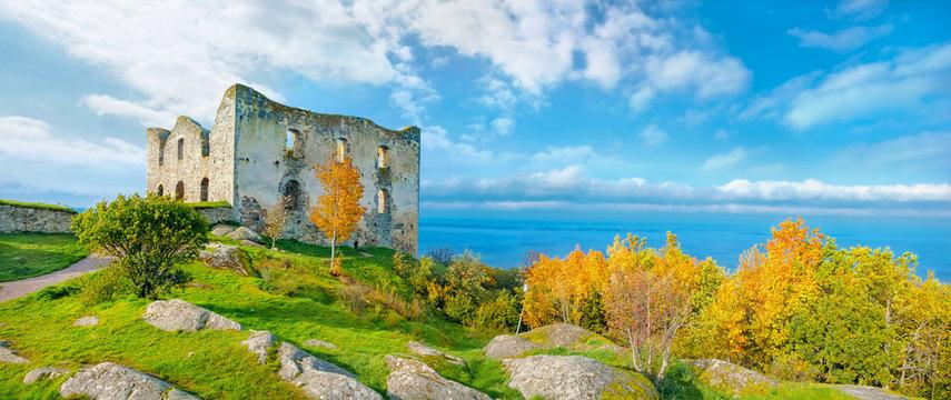 Ancient castle Brahehus near town Granna and lake Vattern. Sweden