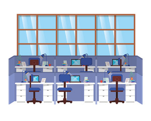 work cubicles isolated icon