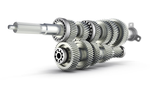 Automotive transmission gearbox Gears inside on white background 3d render with blur