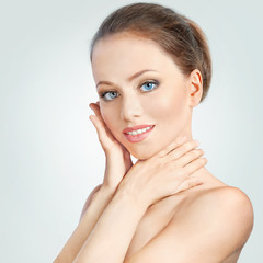 Portrait of smiling beautiful woman. Spa and skin care concept