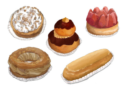 set of five french pastries illustrations isolated on white