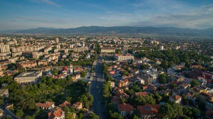 Aerial view of Plovdiv, Bulgaria, October 26, 2018