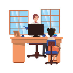 businessman in the office with girl avatar character