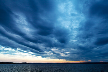 Evening sky after sunset, sky clouds evening atmosphere