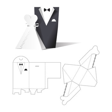 Wedding clothes wear box. Wedding invitation. Retail Box with Blueprint Template