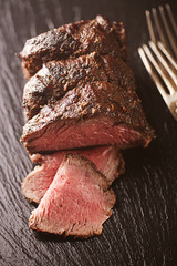 roast beef steak, perfectly sous vide cooked and grilled