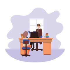 businessman in the office with boy avatar character
