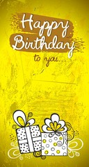 B-day greeting card design, yellow and orange modern background