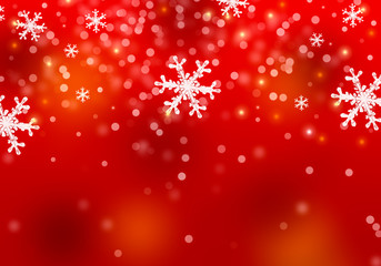 Snowflakes background for christmas holiday. Festive illustration in red gradient.