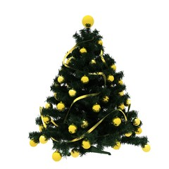 Christmas Tree with yellow decoration
