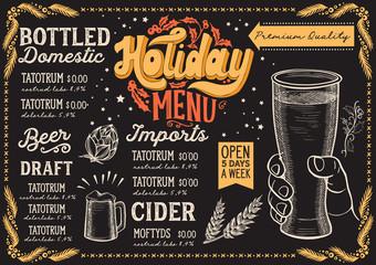 Christmas menu template for beer restaurant on a blackboard.