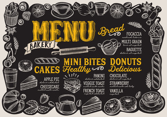 Bakery menu for restaurant with frame of hand-drawn fruits and sweets.
