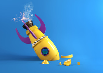 A retro toy rocket crashing back to the ground and breaking into bits. 3D illustration