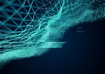 Geometric Data patterns - Technology background. 3D Illustration