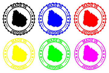 Made in Uruguay - rubber stamp - vector, Uruguay map pattern - black, blue, green, yellow, purple and red