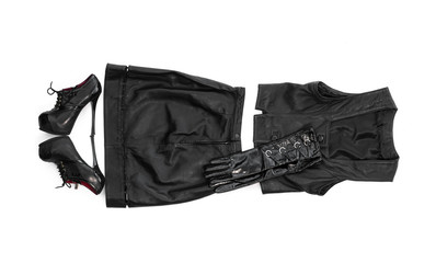 female black leather clothes on a white background