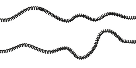 Foto auf Acrylglas Spirale 3d rendering of two strings of spiral rubber phone cables lying curled at a white background.