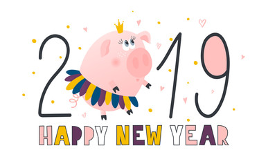 Postcard with cute piggy princess - symbol of the year in the Chinese calendar 2019. Piggy cartoon character. Vector illustration.