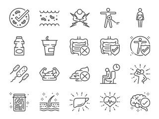 Probiotics icon set. Included icons as intestinal flora, intestinal, bacteria, healthy, yogurt, intestine and more.