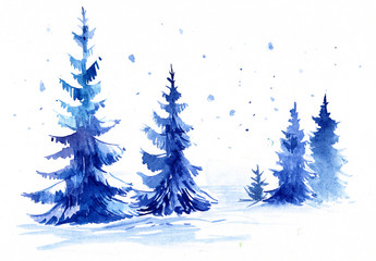 Winter forest. Watercolor illustration